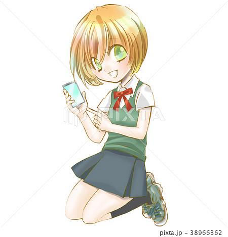 女子高生 イラスト 女子中学生 スマホ かわいい きれい アニメ 漫画の