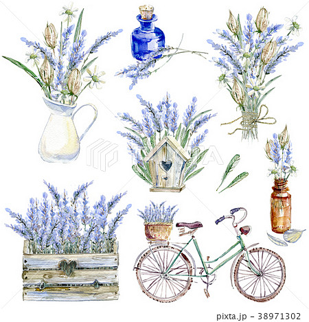 Set of hand drawn watercolor clipart. Provence 38971302