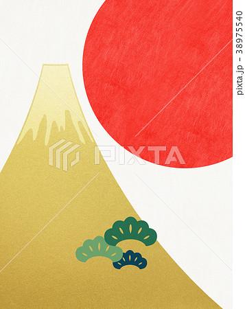 和紙-富士山-背景-日の出-金箔-モダン 38975540