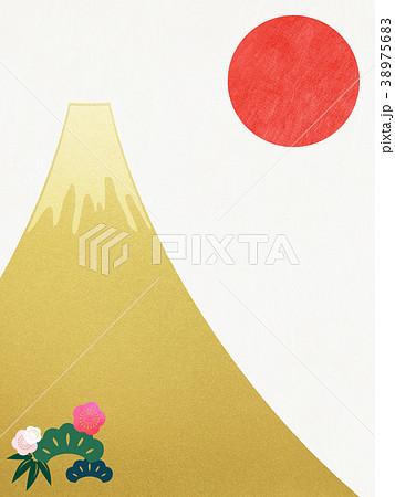 和紙-富士山-背景-日の出-金箔-モダン 38975683