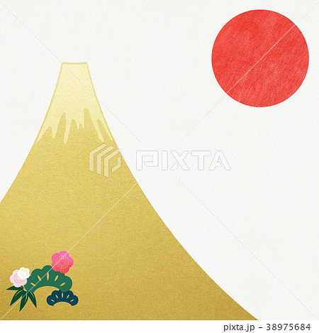 和紙-富士山-背景-日の出-金箔-モダン 38975684