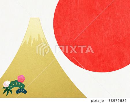 和紙-富士山-背景-日の出-金箔-モダン 38975685