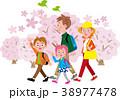 花見 桜 家族のイラスト 38977478