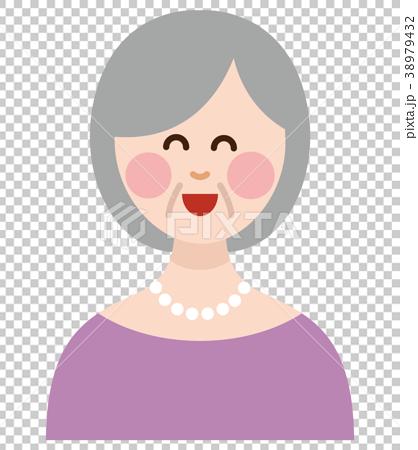 シニア 女性 表情 笑顔 38979432