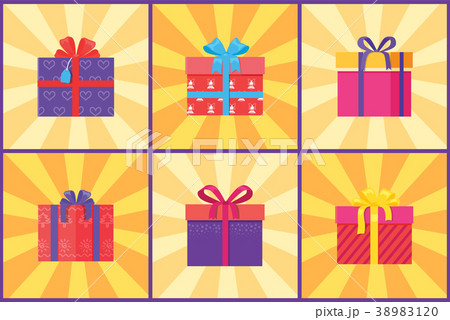 Set of gift boxes in decorative wrapping vector set of gift boxes in decorative wrapping vector negle Images