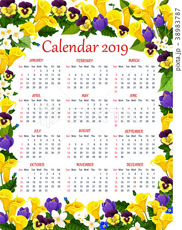 year calendar template with spring flower frameのイラスト素材