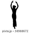 One black silhouette of female flamenco dancer 38988672