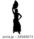 One black silhouette of female flamenco dancer 38988674
