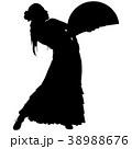 One black silhouette of female flamenco dancer 38988676