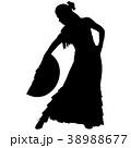 One black silhouette of female flamenco dancer 38988677