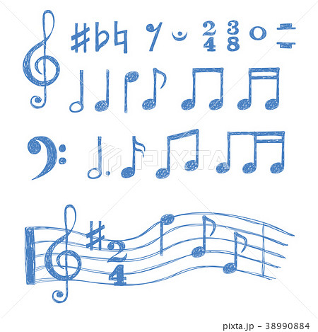 Music notes set. Collection of sketch music symbol 38990884