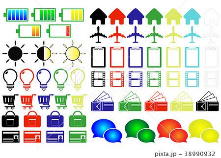 色付きアイコン ホーム 電池 光量 財布 飛行機 SNS ビデオ ショッピングカード かばん等 38990932
