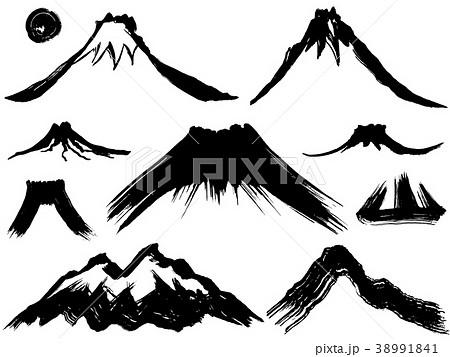 山 噴火 墨 毛筆イラスト 38991841