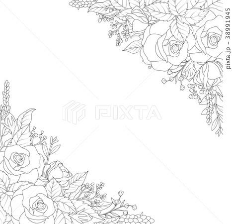 ornamental flowers on white backgroundのイラスト素材 38991945 pixta