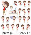 Store staff red uniform women_sickness 38992712