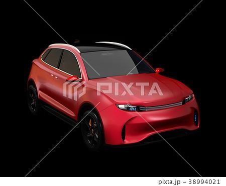 黒背景にメタリックレッドの電動SUVのコンセプト。オリジナルデザイン。 38994021