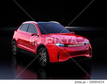 黒背景にメタリックレッドの電動SUVのイメージ 38994024