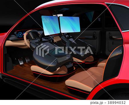 シートに収納可能な折畳式モニターでビデオ会議。自動運転車におけるワークスタイルのコンセプト提案 38994032