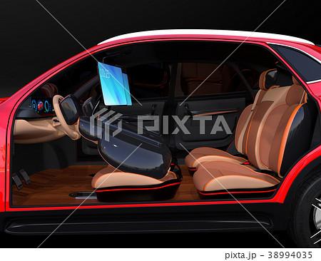 シートに収納可能な折畳式モニターでビデオ会議。自動運転車におけるワークスタイルのコンセプト提案 38994035