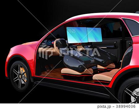 シートに収納可能な折畳式モニターでビデオ会議。自動運転車におけるワークスタイルのコンセプト提案 38994036