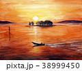 宍道湖の夕日 漁船 38999450