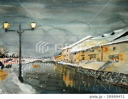 小樽運河の水彩画 38999451