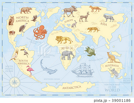 Vintage world map with wild animals and mountains 39001186