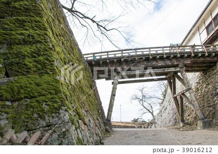 彦根城 大堀切の廊下橋と苔むした石垣 39016212