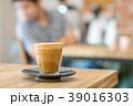 Hot coffee cup on wooden table 39016303