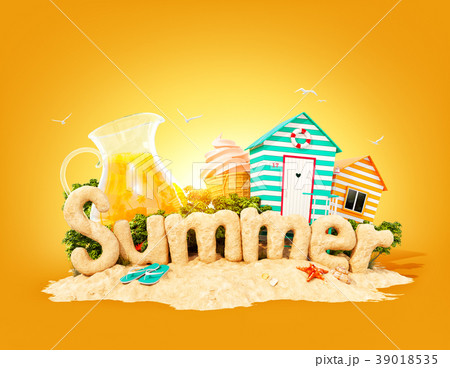The word Summer made of sand  39018535