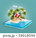 Deck chairs on a sand beach 39018594