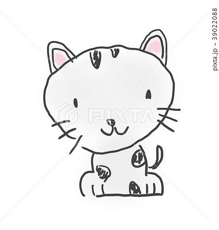 猫ちゃん かわいいゆるい動物キャラ子供の落書き風イラストのイラスト素材 3902