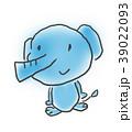 ゾウさん。かわいいゆるい動物キャラ子供の落書き風イラスト 39022093