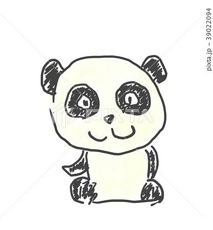 パンダくんかわいいゆるい動物キャラ子供の落書き風イラストのイラスト