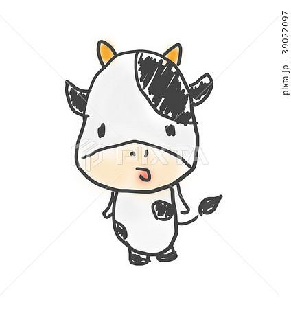 牛さんかわいいゆるい動物キャラ子供の落書き風イラストのイラスト素材