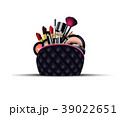 Set of cosmetics with black bag on isolated backgr 39022651