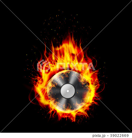 Fire burning CD black background 39022669