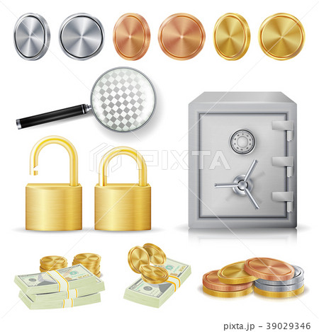 Money Secure Concept Vector. Gold, Silver, Copper 39029346