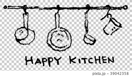 キッチンに吊り下げてある調理道具 39042358