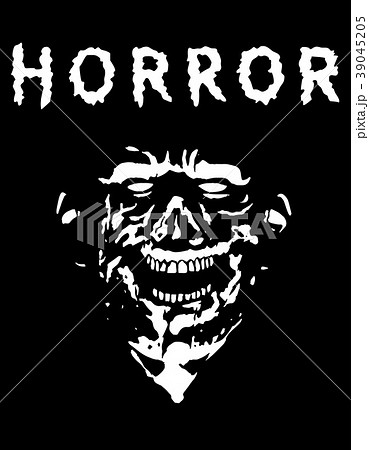 Spooky zombie head with torn face. Vector 39045205
