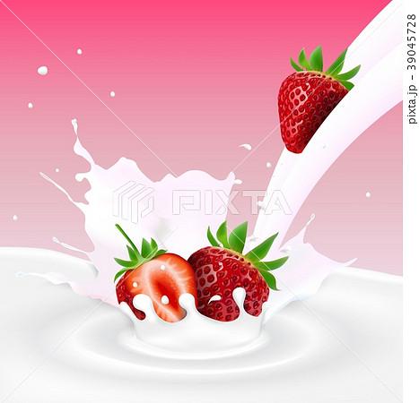 Flowing milk splash with strawberries fruits 39045728