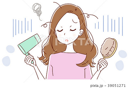 ヘアケアについて悩んでいる女性のイラスト 39051271