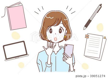 スマホと女性 資格・仕事のイメージイラスト 39051274