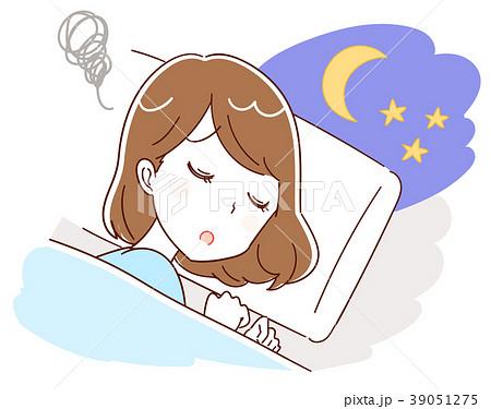 不眠に悩む女性のイラスト 39051275