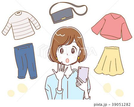 スマホと女性 ショッピング フリマアプリのイメージイラストの