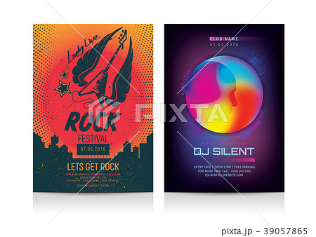 set of rock dj party flyer layout templates のイラスト素材