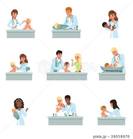 pediatrician doctors doing medical examination ofのイラスト素材