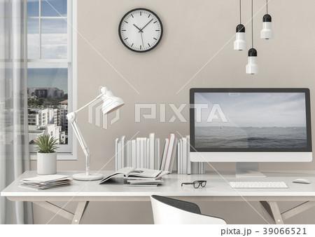 3D rendering interior room with desktop computer 39066521