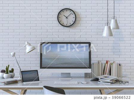 3D rendering interior room with desktop computer 39066522
