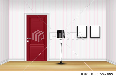 closed red door with floor lamp and frames on striのイラスト素材